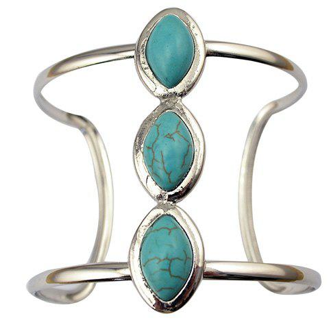 Faux Turquoise Geometric Hollow Out Cuff Bracelet - GREEN