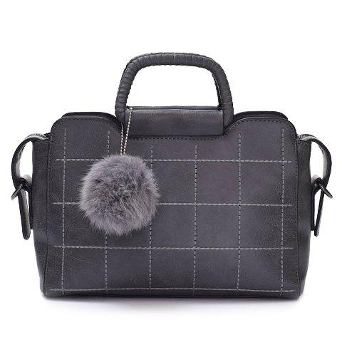 Ladylike PU Leather and Plaid Design Tote Bag For Women - GRAY
