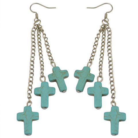 Pair of Faux Turquoise Cross Shape Drop Earrings - GREEN