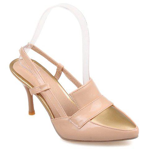 Trendy Patent Leather and Slingbacks Design Pumps For Women - APRICOT 34