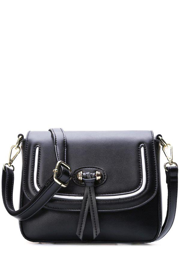 Simple Cover and Stitching Design Women's Crossbody Bag - BLACK