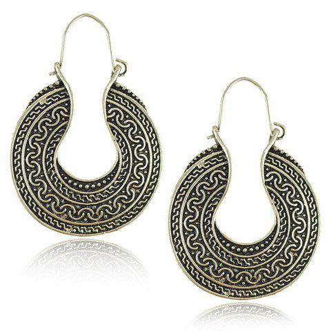 Pair of Carving Pattern Round EarringsJewelry<br><br><br>Color: SILVER GRAY