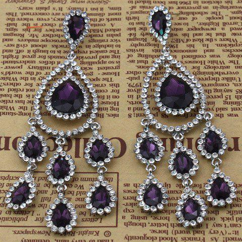 Pair of Faux Crystal Rhinestoned Water Drop Earrings - PURPLE