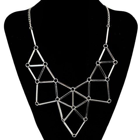 Punk Triangle Hollow Out Necklace - SILVER