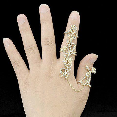 Hollow Out Rhinestoned Rose Shape Ring - GOLDEN ONE-SIZE