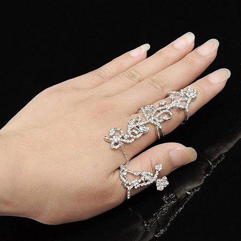 Hollow Out Rhinestoned Rose Shape Ring - SILVER ONE-SIZE