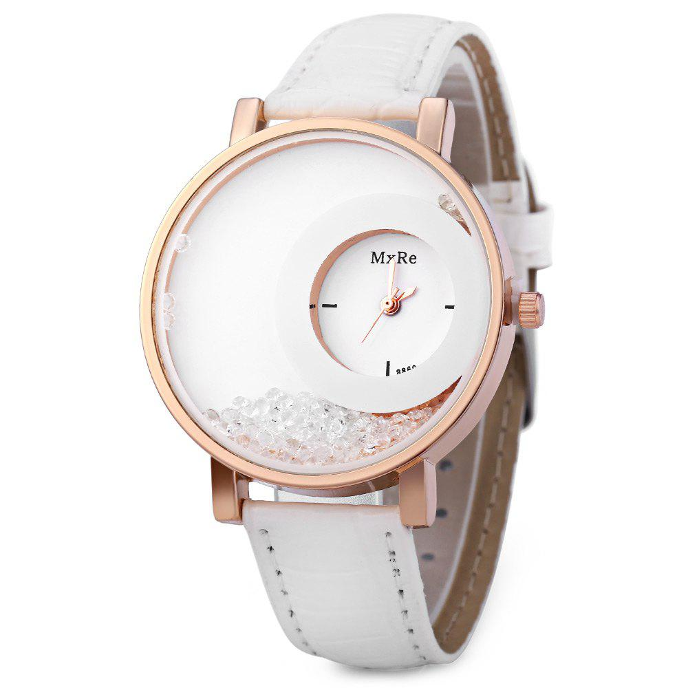 Women Rhinestone Quartz Watch Leather Band