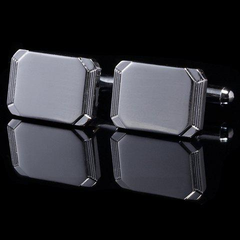 Pair of Stylish Geometry Shape Men's Alloy Cufflinks - GUN METAL
