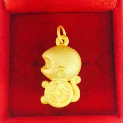 Noble Solid Color Monkey Shape Pendant For Women - GOLDEN
