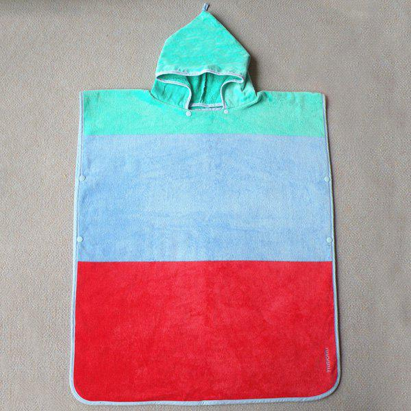 Fashionable Color Block Bus Pattern Soft Cotton Hooded Towels - COLORMIX