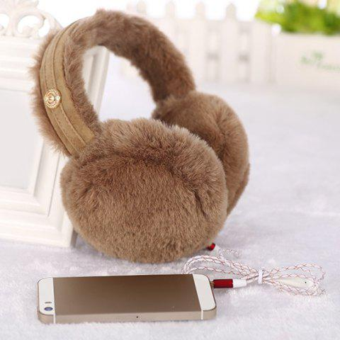 Chic Earphone Jack Design Solid Color Downy Earmuff For Women