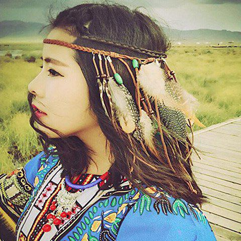 Bohemian Style Woven Rope Feather Hairband For Women