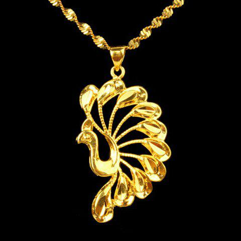 Dazzling Solid Color Peacock Shape Pendant For Women - GOLDEN