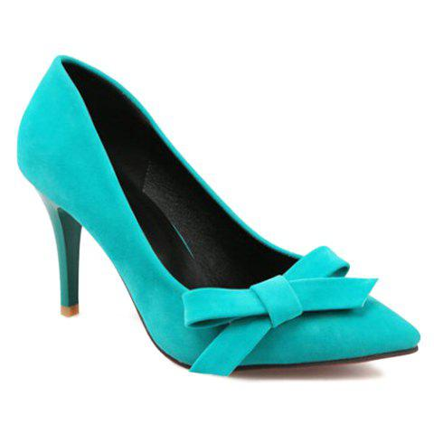 Trendy Bow and Flock Design Pumps For Women - GREEN 39