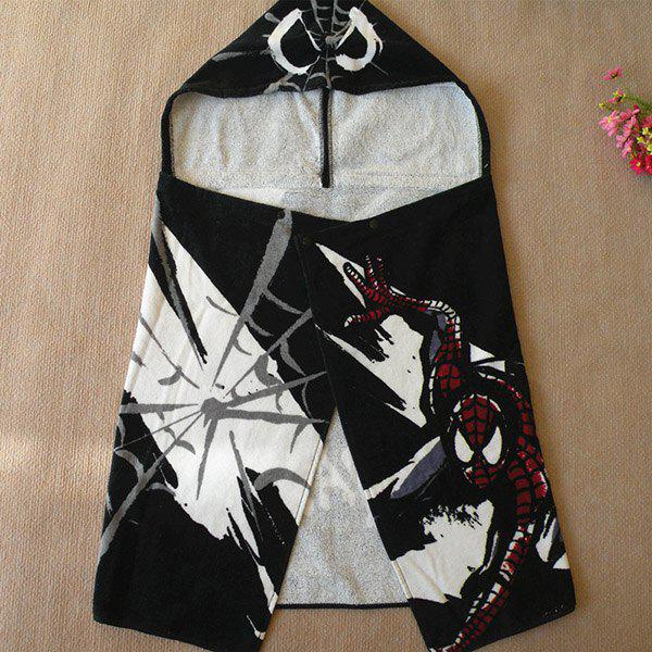 High Quality Soft Cotton Spider-Man Design Children Hooded Towels - BLACK
