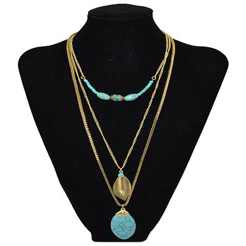 Chic Faux Turquoise Leaf Layered Sweater Chain For Women - GOLDEN