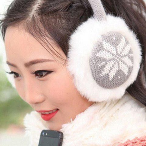 Chic Christmas Snowflake Pattern Knitted Matching Downy Earmuff For Women