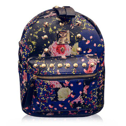 Fashion PU Leather and Floral Print Design Satchel For Women - BLUE
