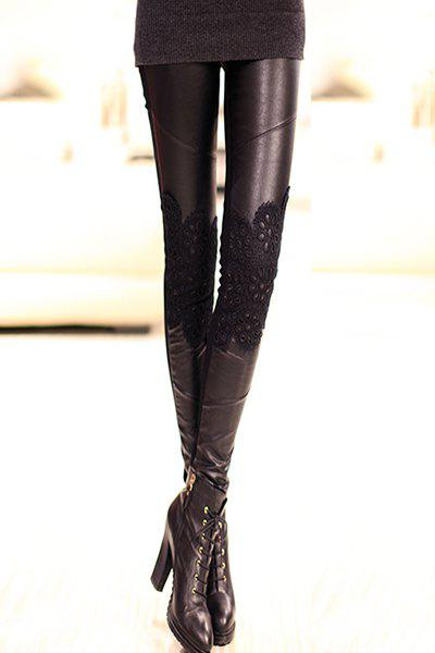 Chic Black Lace Spliced Pants For Women - BLACK M