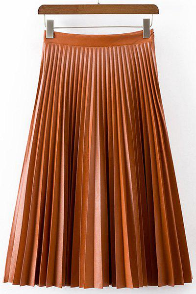 Pure Color Pleated PU Skirt For Women - ORANGE L