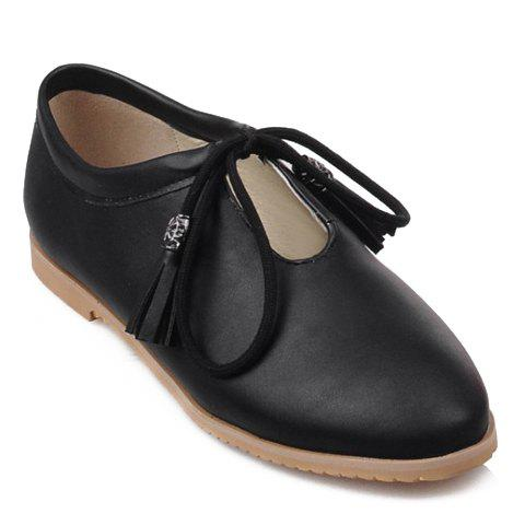 Stylish Tassels and Hollow Out Design Flat Shoes For Women - BLACK 38
