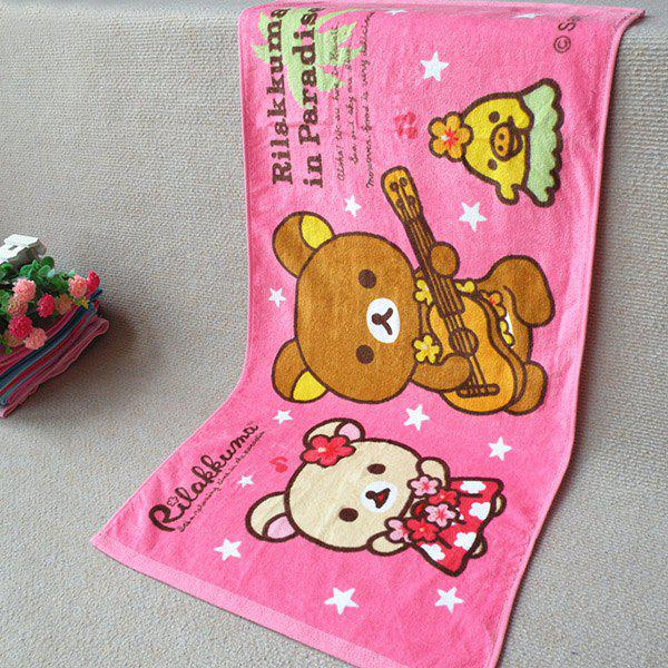 Soft Guitar Bear Pattern Super Absorbent Face Towel - PINK
