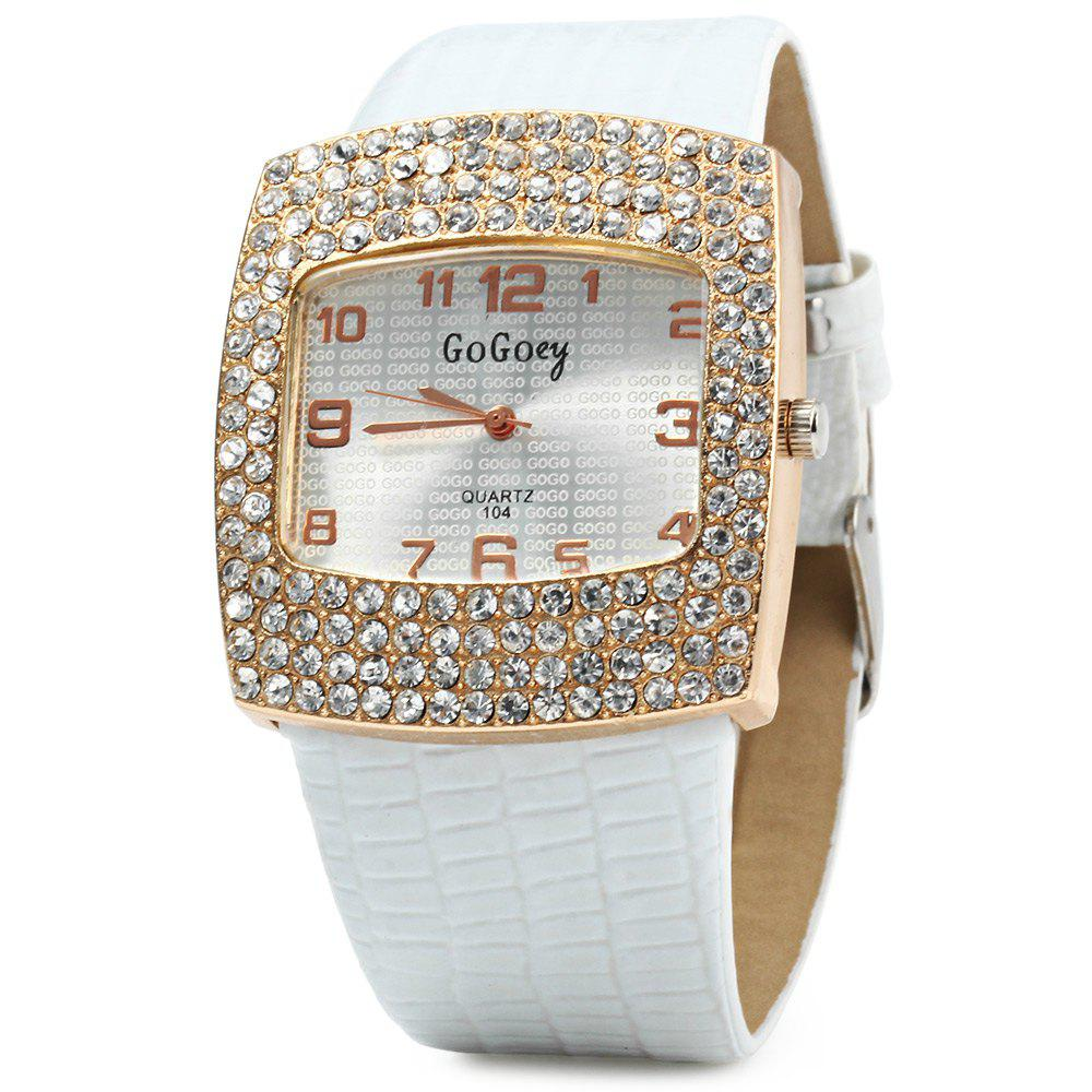 Gogoey 104 Women Rhinestone Quartz Watch Rectangle Dial Leatehr Band - WHITE