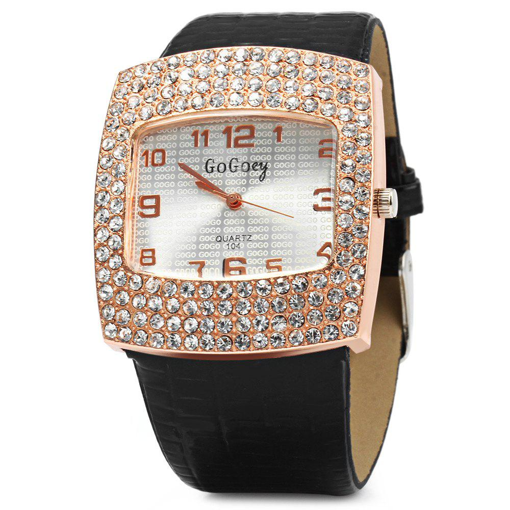 Gogoey 104 Women Rhinestone Quartz Watch Rectangle Dial Leatehr Band - BLACK
