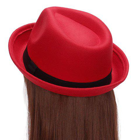 Chic Solid Color Flanging Women's Felt Jazz Hat - RED