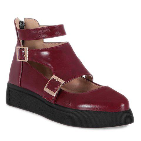 Fashionable Zipper and Double Buckle Design Platform Shoes For Women - WINE RED 39