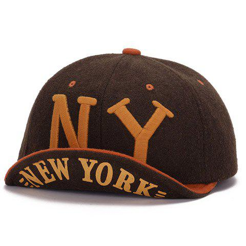 Stylish Capital Letter Embroidery Brim Curl Men's Felt Baseball Cap - BROWN