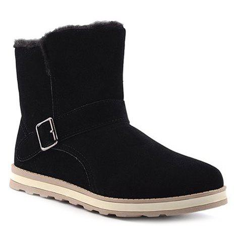 Simple Buckle and Flock Design Men's Snow Boots - BLACK 43