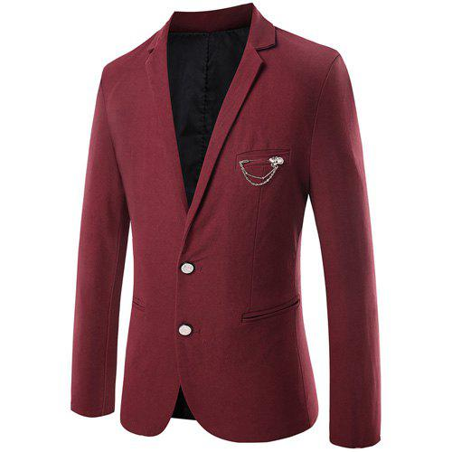 Slim Fit Turn Down Collar Single Breasted Long Sleeve Blazer For Men - WINE RED 3XL