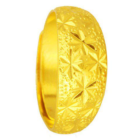Dazzling Solid Color Star Carved Ring For Women - GOLDEN ONE-SIZE
