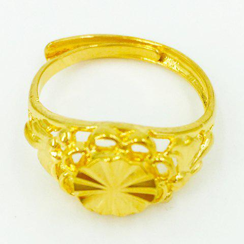Dazzling Hollow Out Flower Shape Cuff Ring For Women - GOLDEN ONE-SIZE