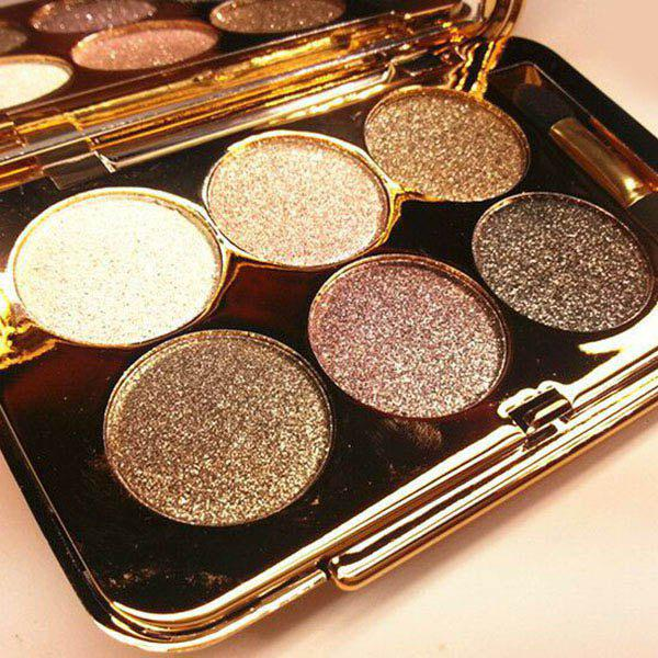 Professional 6 Colours Diamond Eyeshadow Palette with Mirror and Brush - 3