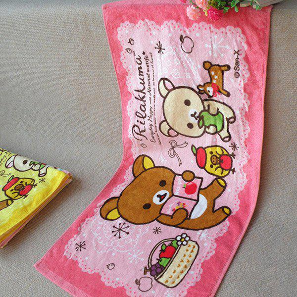 Soft Striped Bear Reading Pattern Super Absorbent Face Towel - PINK