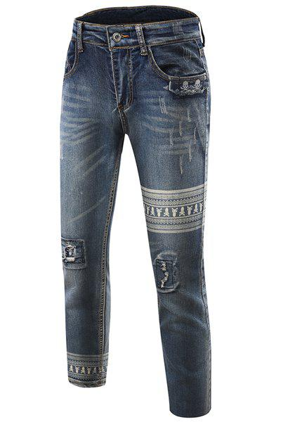Men's Slim Fit Zip Fly Mid-Rise Waist Skull Ripped Narrow Feet Jeans - BLUE 32