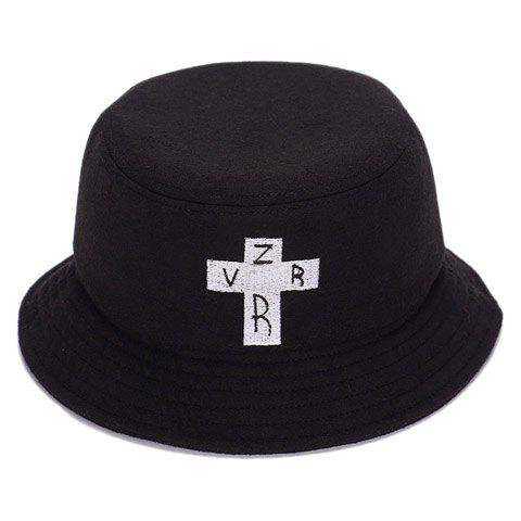 Stylish Letters and Cross Embroidery Men's Felt Bucket Hat - BLACK