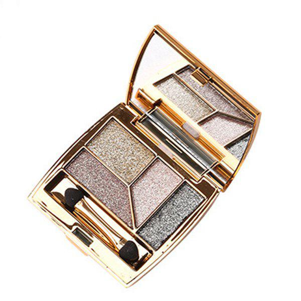 Professional 4 Colours Diamond Shimmer Eyeshadow Palette with Mirror and Brush -