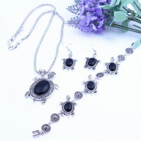 A Suit of Retro Faux Crystal Tortoise Shape Necklace Bracelet and Earrings For Women
