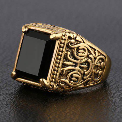 Characteristic Faux Gemstone Square Ring For Men - GOLDEN ONE-SIZE