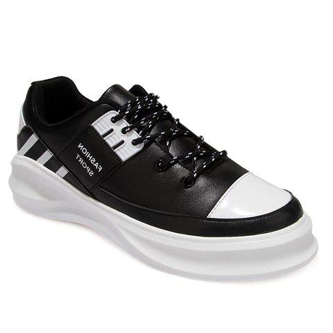 Fashion Colour Block and Lace-Up Design Casual Shoes For Men - BLACK 39