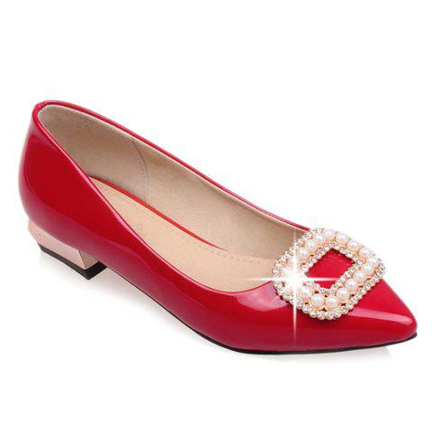Trendy Beading and Square Buckle Design Flat Shoes For Women - RED 37