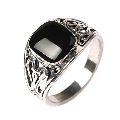 Fake Gemstone Heart Hollow Out Ring - BLACK ONE-SIZE