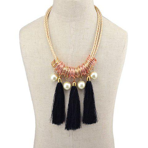Faddish Faux Pearl Tassel Necklace For Women - BLACK