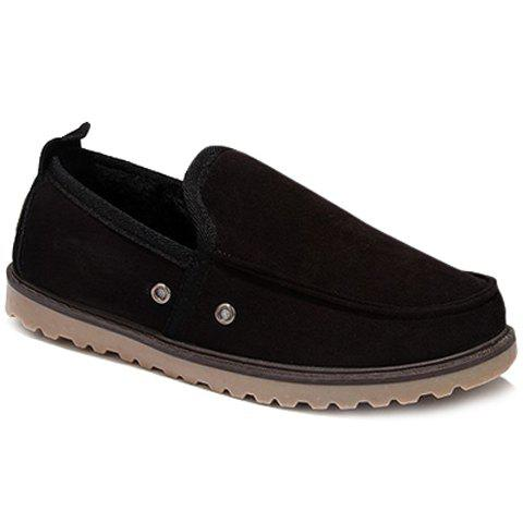 Simple Slip-On and Suede Design Casual Shoes For Men - BLACK 42