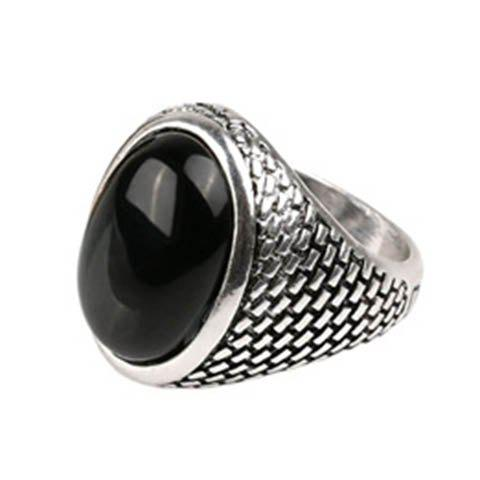 Vintage Faux Gemstone Serpentine Oval Ring For Men - ONE-SIZE SILVER