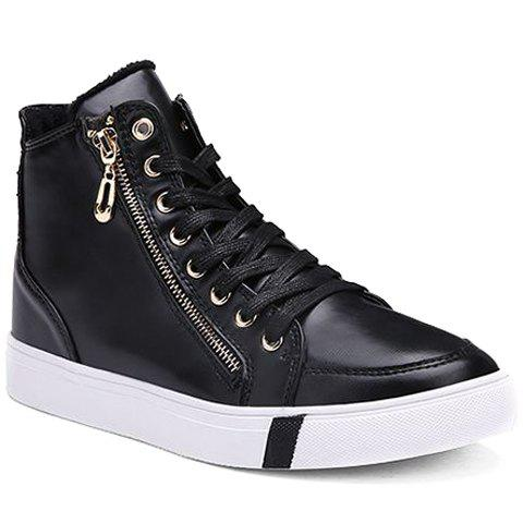 Fashion Zipper and Lace-Up Design Casual Shoes For Men - WHITE/BLACK 40