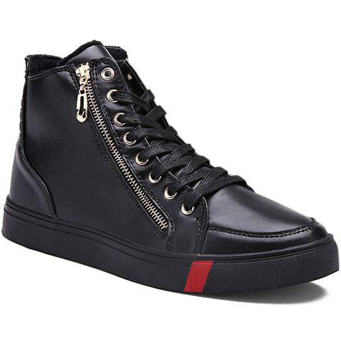 Fashion Zipper and Lace-Up Design Casual Shoes For Men - BLACK 39